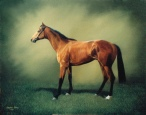 Oil Painting of a Brown Horse