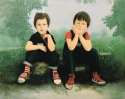 Portrait Oil Painting of Two Young Boys.